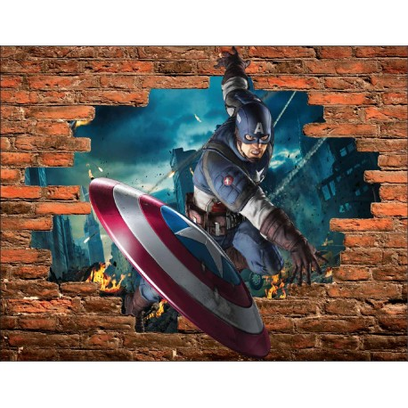 Stickers Trompe l'oeil pierre Captain América Avengers réf 15089