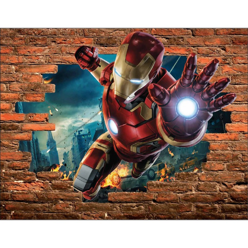 stickers trompe l 39 oeil pierre iron man avengers r f 15088 stickers muraux enfant. Black Bedroom Furniture Sets. Home Design Ideas