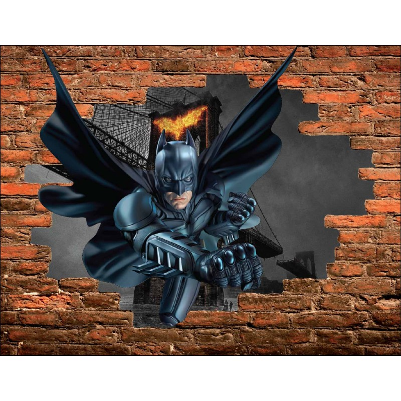 stickers trompe l 39 oeil pierre batman r f 15086 stickers muraux enfant. Black Bedroom Furniture Sets. Home Design Ideas