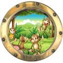 Sticker hublot enfant Singes 9572