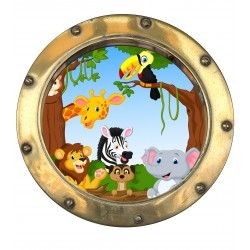 Sticker hublot enfant Animaux jungle 9573