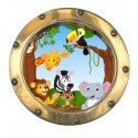 Sticker hublot enfant Animaux jungle 9573