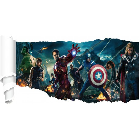 Stickers Avengers papier déchiré réf 19527