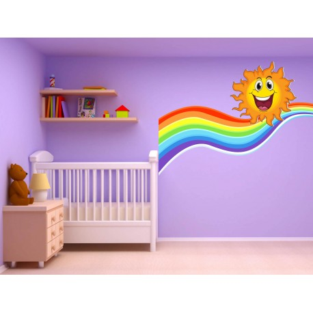 stickers autocollant chambre d 39 enfant soleil arc en ciel 17560 stickers muraux enfant. Black Bedroom Furniture Sets. Home Design Ideas
