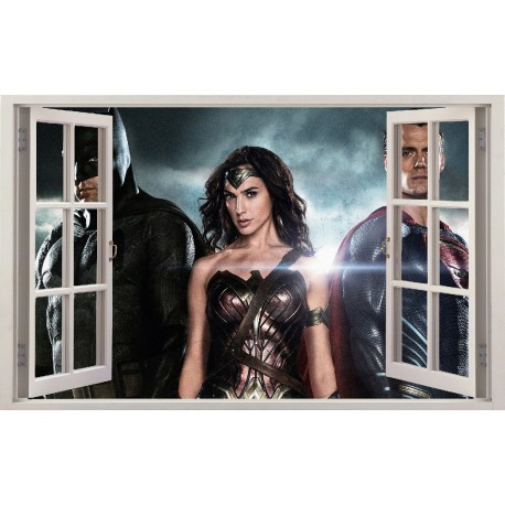 Stickers fenêtre Batman Superman Wonder Woman réf 11126