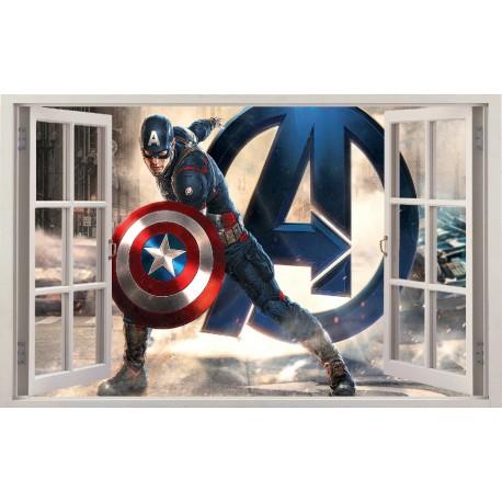 Stickers fenêtre Dark Vador Avengers Captain América réf 11130