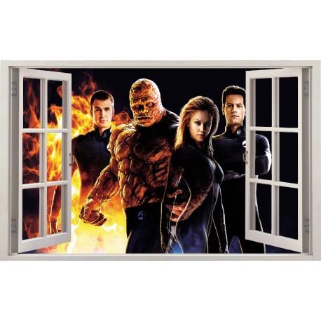 Stickers fenêtre Les 4 Fantastiques réf 11154