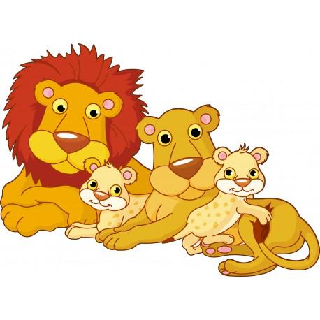 Sticker enfant famille Lion réf 915 (Dimensions de 10 cm à 130 cm de largeur)