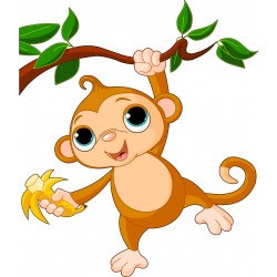 Sticker enfant Singe arbre 2512