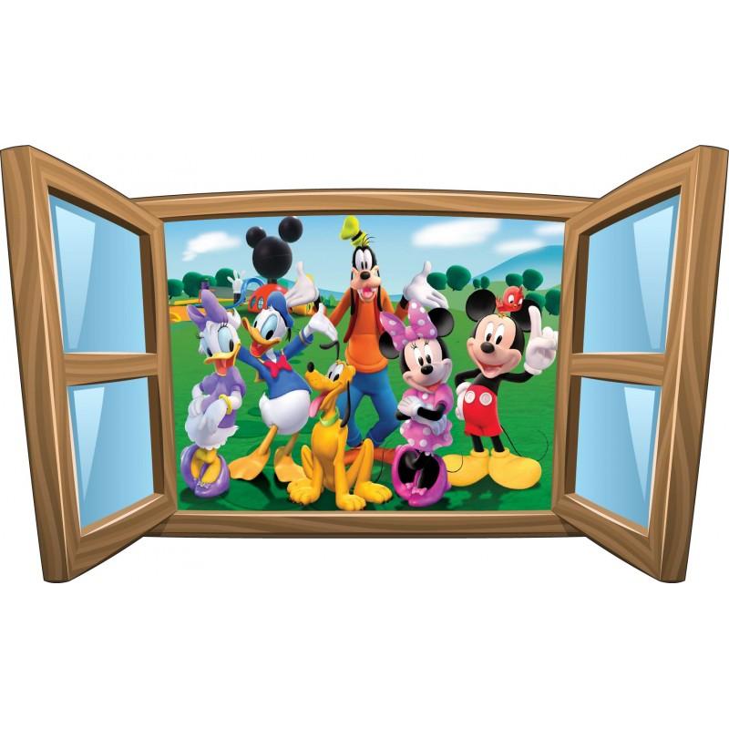 sticker enfant fen tre la bande a mickey r f 978 stickers muraux enfant. Black Bedroom Furniture Sets. Home Design Ideas
