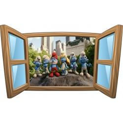 Sticker enfant fenêtre Schtroumpfs réf 961