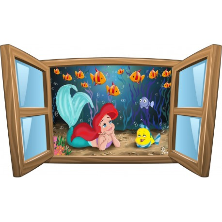 Sticker enfant fenêtre La Petite Sirene réf 963