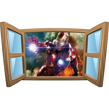 Sticker enfant fenêtre Iron Man réf 1012