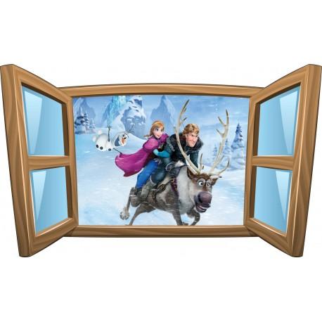 Sticker enfant fenêtre La Reine des Neiges réf 1000
