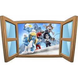 Sticker enfant fenêtre Schtroumpfs réf 997