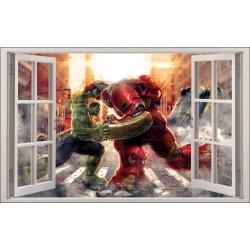 Sticker enfant fenêtre Hulk vs Hulkbuster réf 1060