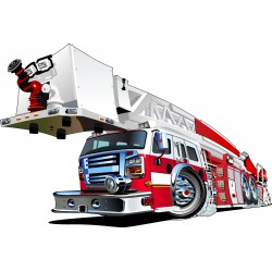 Stickers enfant Camion pompier réf 3551 (Dimensions de 10cm à 130cm de largeur)
