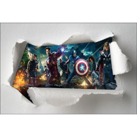 Stickers enfant papier déchiré Avengers réf 7631