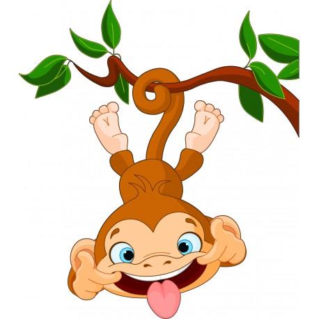 Sticker enfant Singe grimace réf 3531 ( Dimensions de 10 cm à 130cm de hauteur)