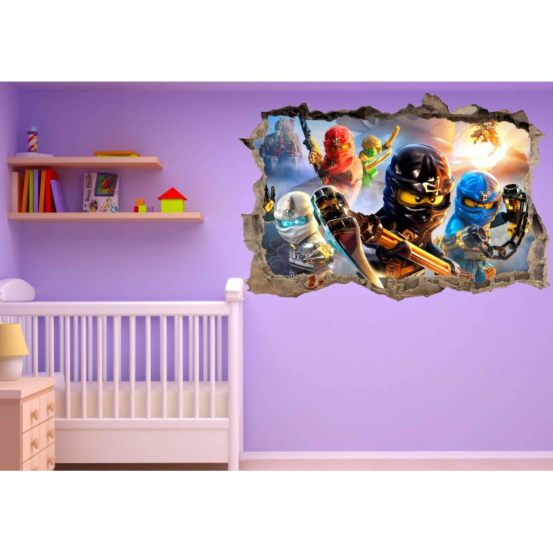 Stickers 3d trompe l 39 oeil ninjago r f 23212 stickers for Chambre zelda