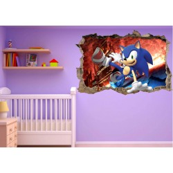 Stickers 3D trompe l'oeil Sonic réf 23215