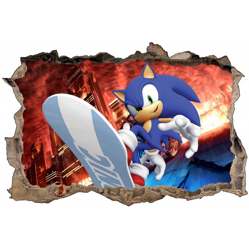 Stickers 3D trompe l/'oeil Sonic réf 23215 23215