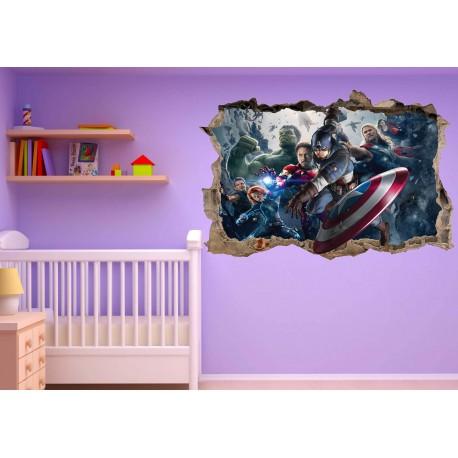Stickers trompe l'oeil Avengers Captain América réf 23219