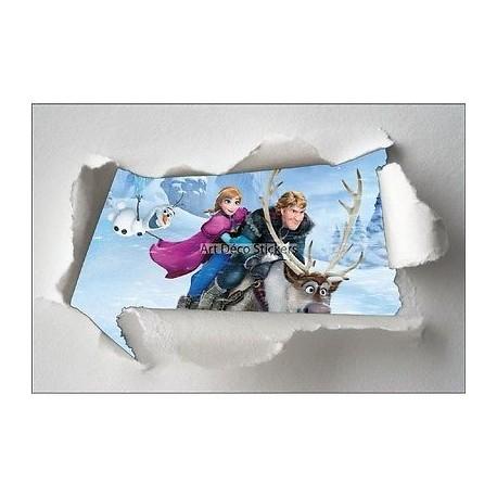 Stickers enfant papier déchiré Frozen la reine des neiges réf 7621