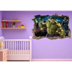 Stickers 3D trompe l'oeil Avengers Hulk réf 23220
