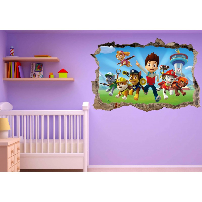 stickers 3d trompe l 39 oeil paw patrol r f 23234 stickers. Black Bedroom Furniture Sets. Home Design Ideas