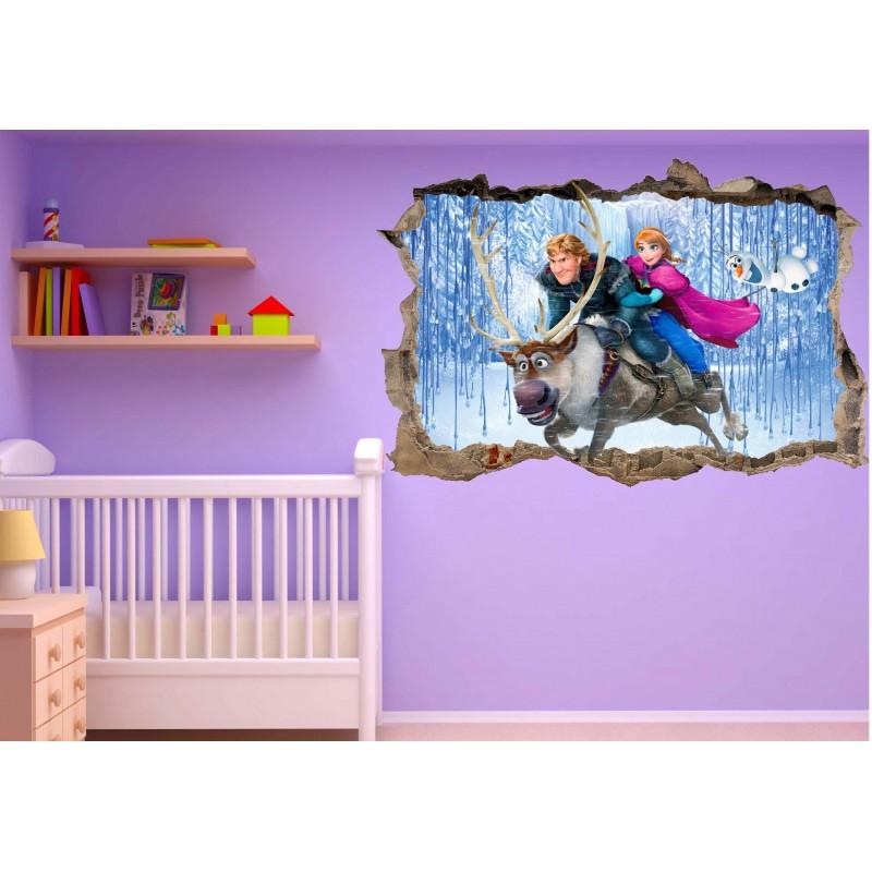 Stickers trompe l 39 oeil frozen la reine des neiges r f 23231 stickers muraux enfant - Papier peint reine des neiges ...