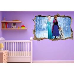 Stickers trompe l'oeil Frozen La reine des neiges réf 23232