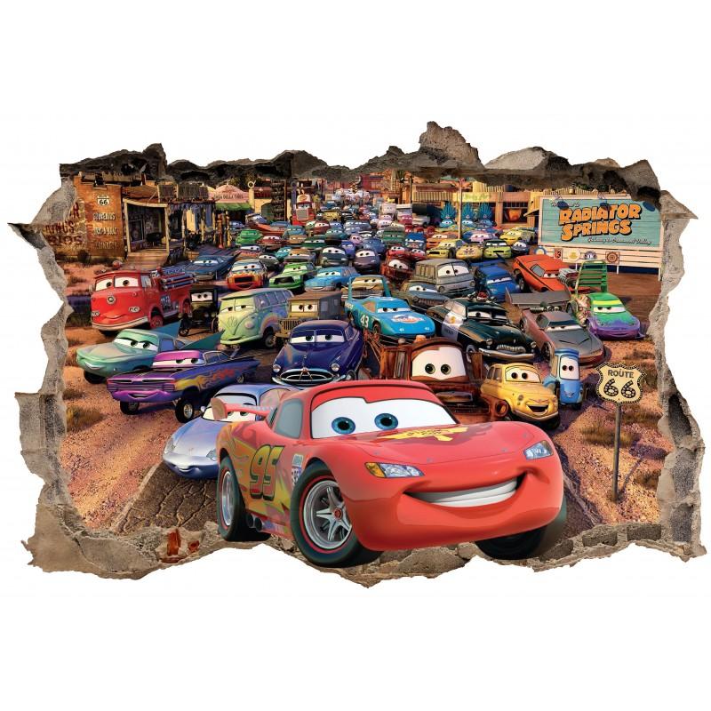stickers 3d trompe l 39 oeil cars r f 23243 stickers muraux enfant. Black Bedroom Furniture Sets. Home Design Ideas