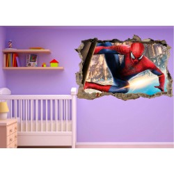 Stickers 3D trompe l'oeil Spiderman réf 23244