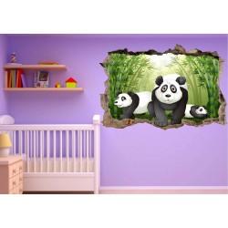 Stickers 3D trompe l'oeil Panda réf 23249