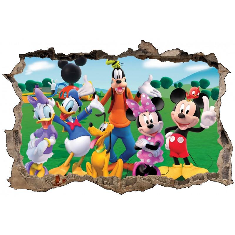 Stickers Chambre Fille Feerique : Stickers d trompe l oeil mickey et ses amis réf
