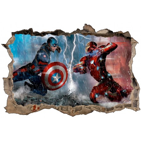 Stickers trompe l'oeil Captain américa VS Iron Man réf 23257