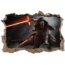 Stickers trompe l'oeil Star Wars Kylo Ren réf 23258