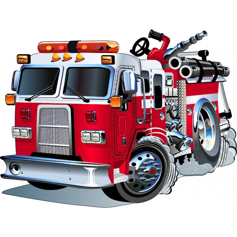 Sticker enfant camion de pompier 3548 stickers muraux enfant - Camion pompier cars ...