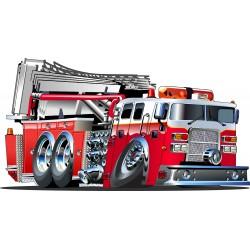 Stickers enfant Camion pompier réf 3552 (Dimensions de 10cm à 130cm de largeur)
