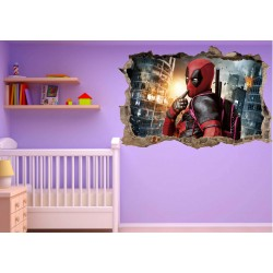 Stickers 3D trompe l'oeil Deadpool réf 23259