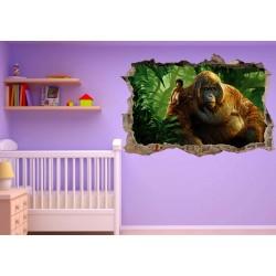 Stickers trompe l'oeil 3D Mowgli le livre de la jungle réf 23277