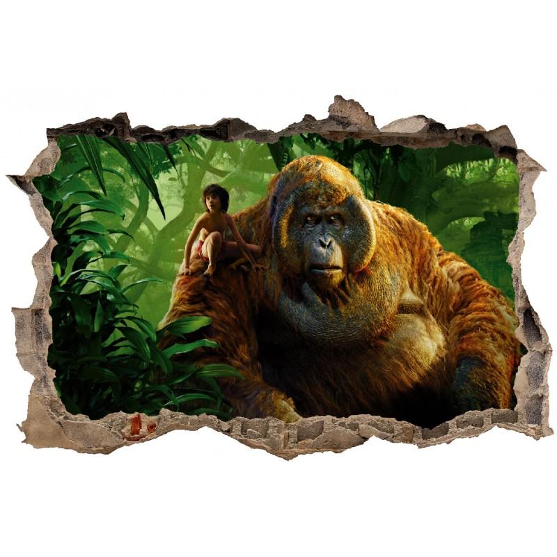 stickers trompe l 39 oeil 3d mowgli le livre de la jungle r f 23277 stickers muraux enfant. Black Bedroom Furniture Sets. Home Design Ideas