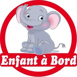 Sticker enfant à bord Eléphant 16x16cm réf 171