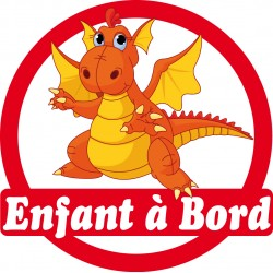 Sticker enfant à bord Dragon 16x16cm réf 170