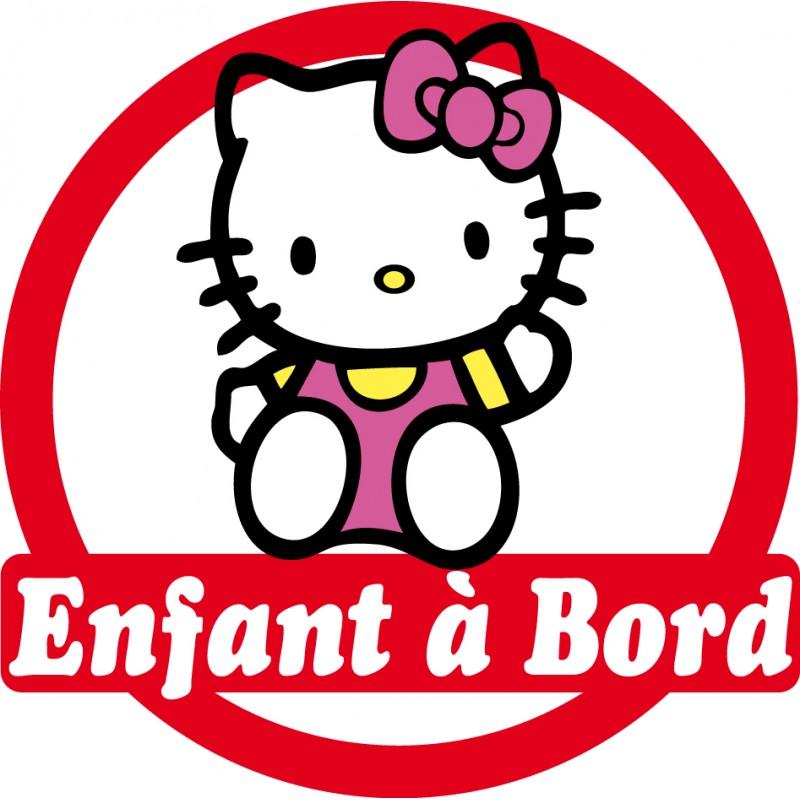 sticker enfant bord hello kitty 16x16cm r f 154 stickers muraux enfant. Black Bedroom Furniture Sets. Home Design Ideas