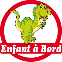 Sticker enfant à bord Dinosaure 16x16cm réf 163