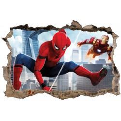 Stickers 3D Spiderman et Ironman réf 52464
