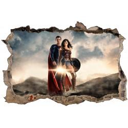 Stickers 3D Superman et Wonder Woman réf 52468