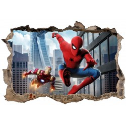Stickers 3D Spider Man et Iron Man réf 52474